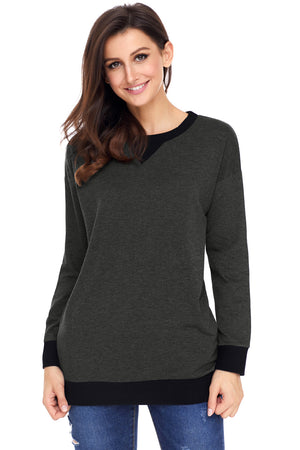 Charcoal Raglan Sleeve Patch Elbow Sweatshirt Top