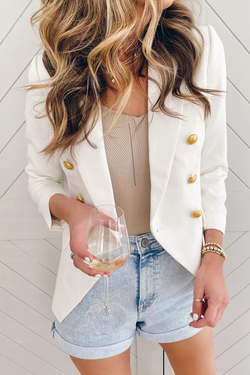 White Double Breasted Long Sleeve Novelty Button Blazer