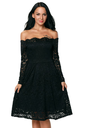 Black Long Sleeve Floral Lace Boat Neck Cocktail Swing Dress