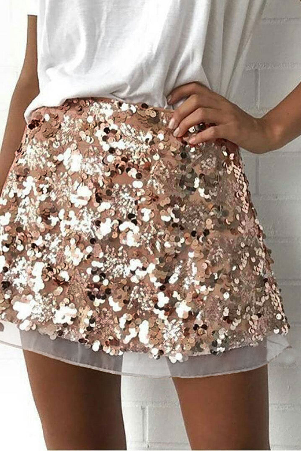 Apricot Bling Bling Shiny Party Skirt