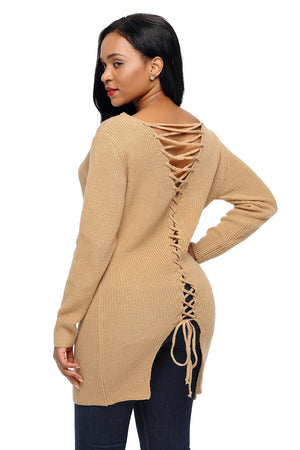 Khaki Never Look Back Lace Up Sweater