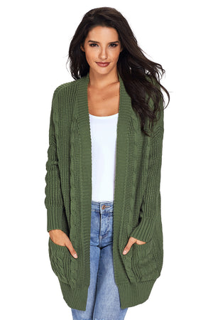 Army Knit Texture Long Cardigan