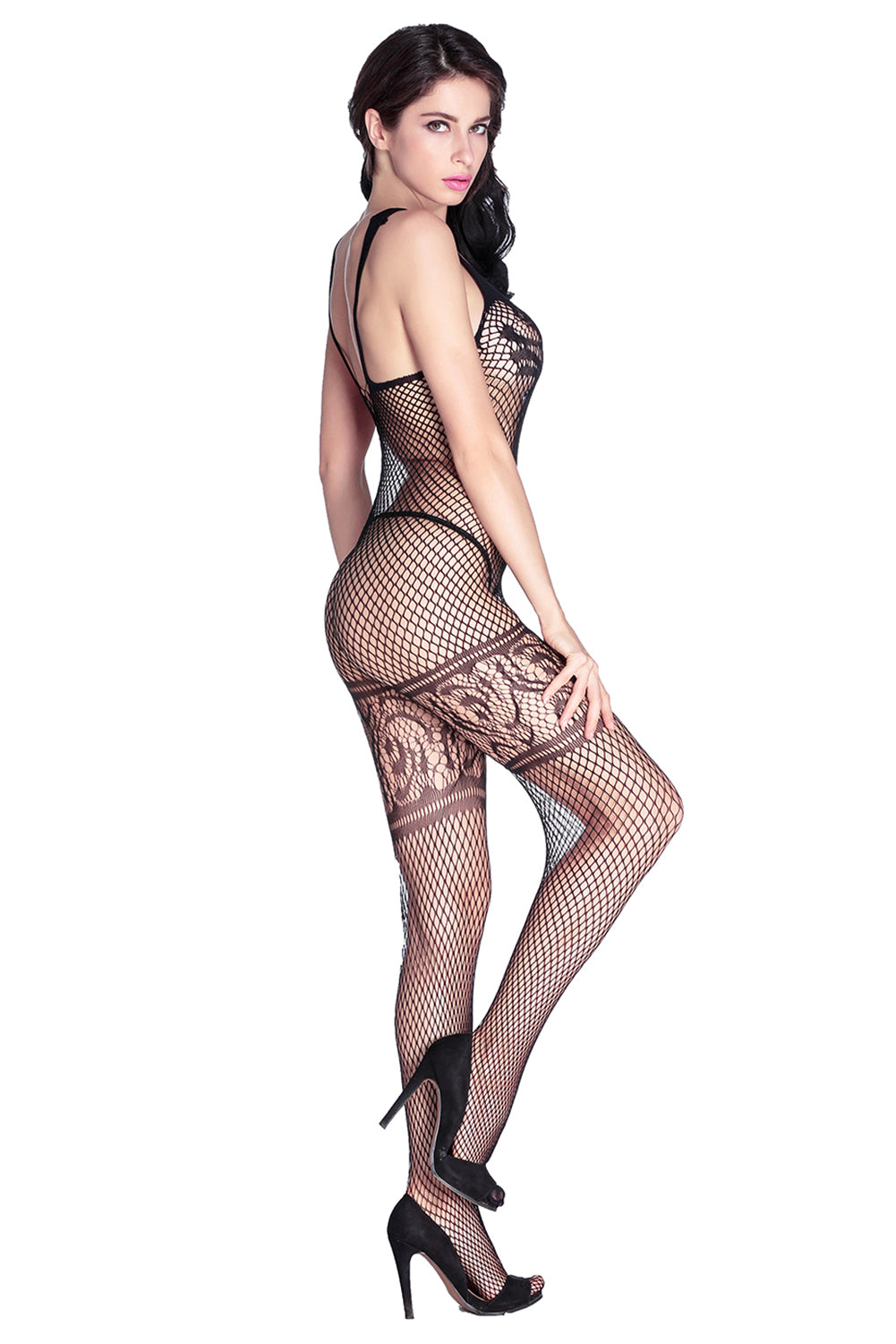 Lace Diamond Net Bodystocking