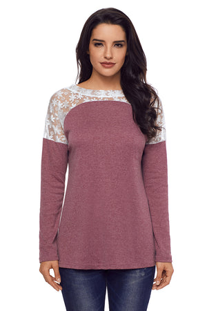 Split Effect Back Lace Insert Mauve Long Sleeve Top