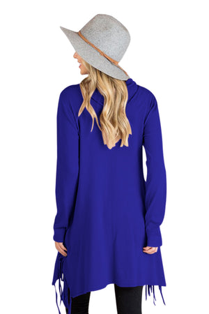Blue Cowl Neck Fringe Tunic