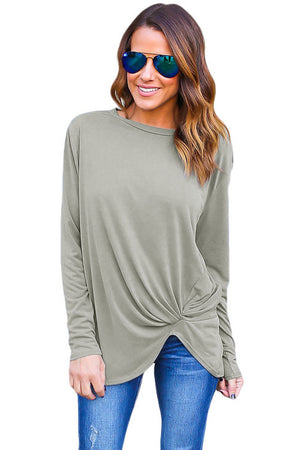 Gray Long Sleeves Drape Top