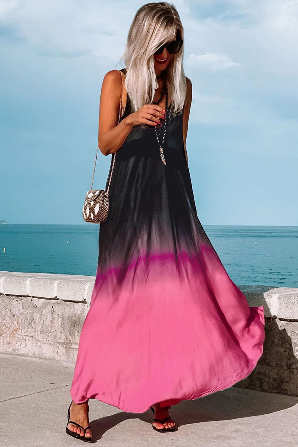 Tie-dye Gradient Holiday Maxi Dress