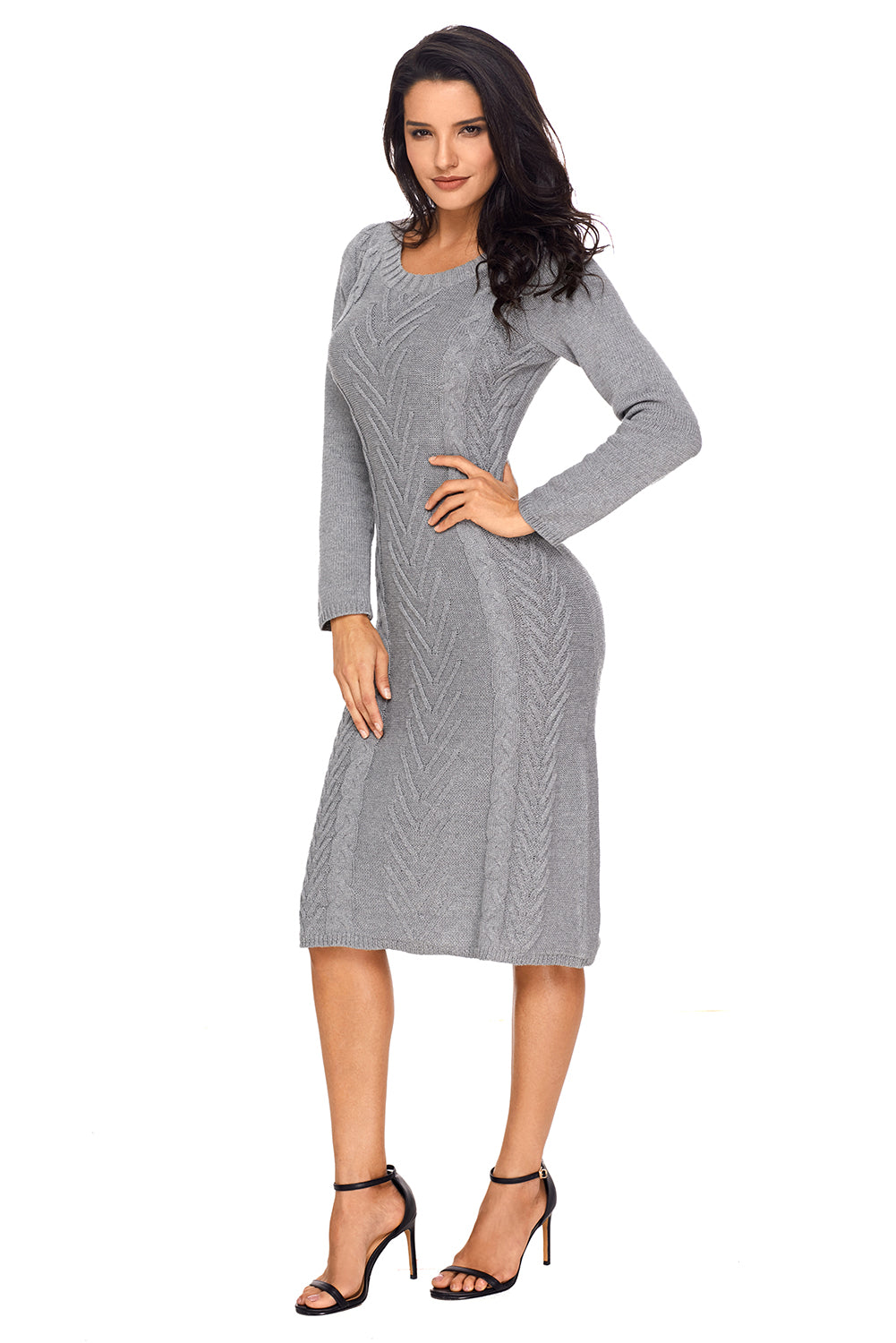 Gray Womens Hand Knitted Sweater Dress