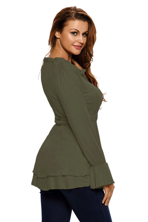 Olive Drawstring V Neck Elastic Long Sleeve Top