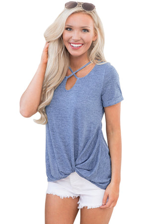 Blue Cross Neck Knotted Hem Blouse Top