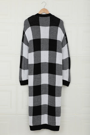 Board Games Pocketed Checkered Cardigan