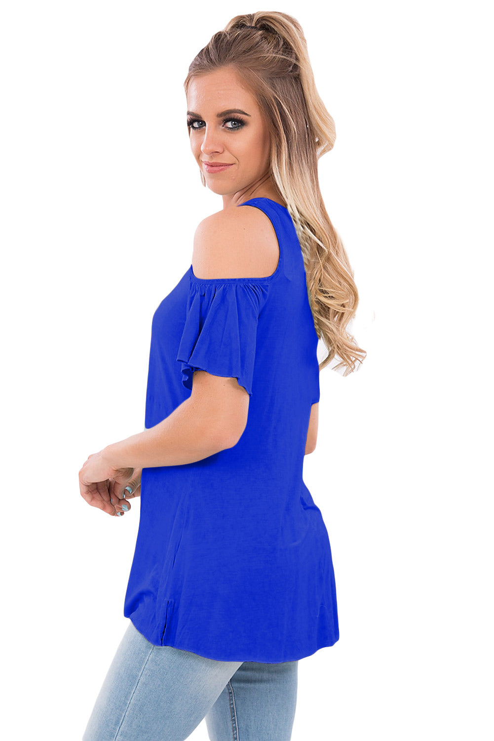 Royal Blue Crisscross Front Cold Shoulder Ruffle Sleeve Top