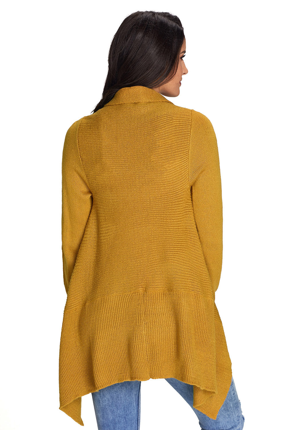 Mustard Waterfall Long Sleeve Sweater Cardigan