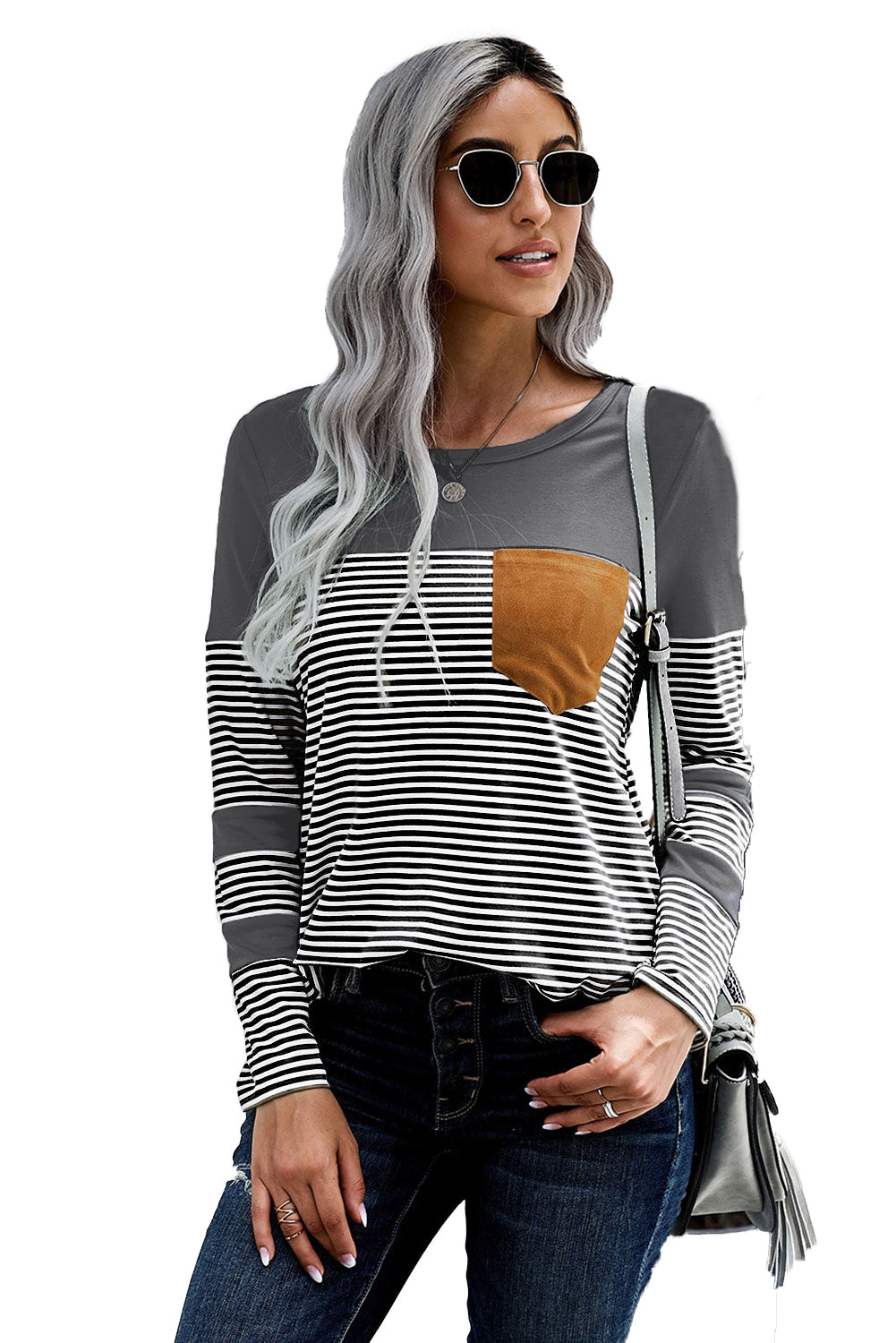 Gray Pinstripe Patch Pocket Top