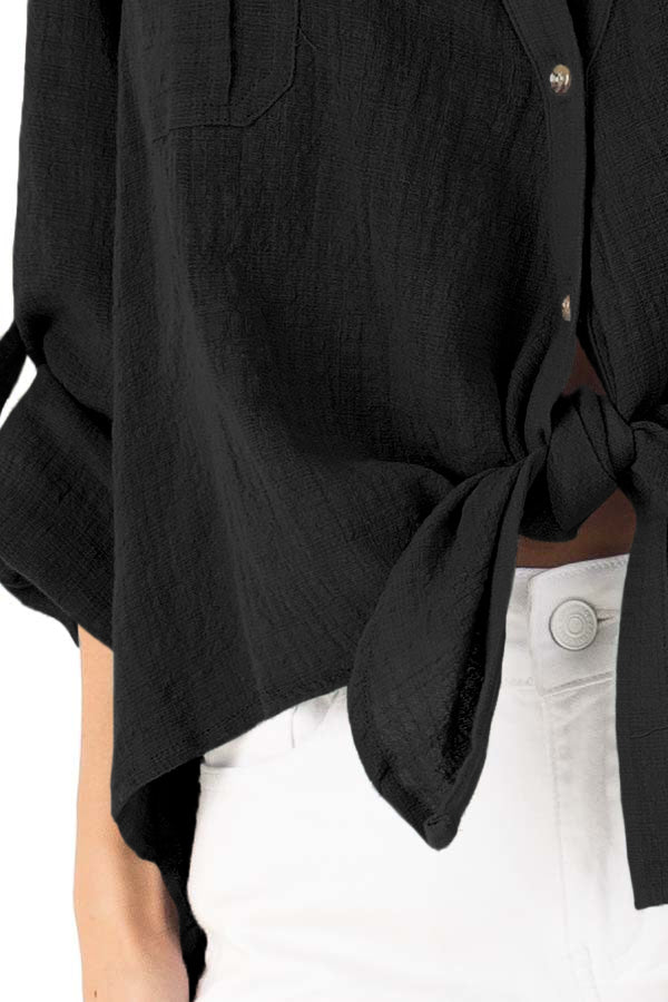 Black Button up Front Tie Top
