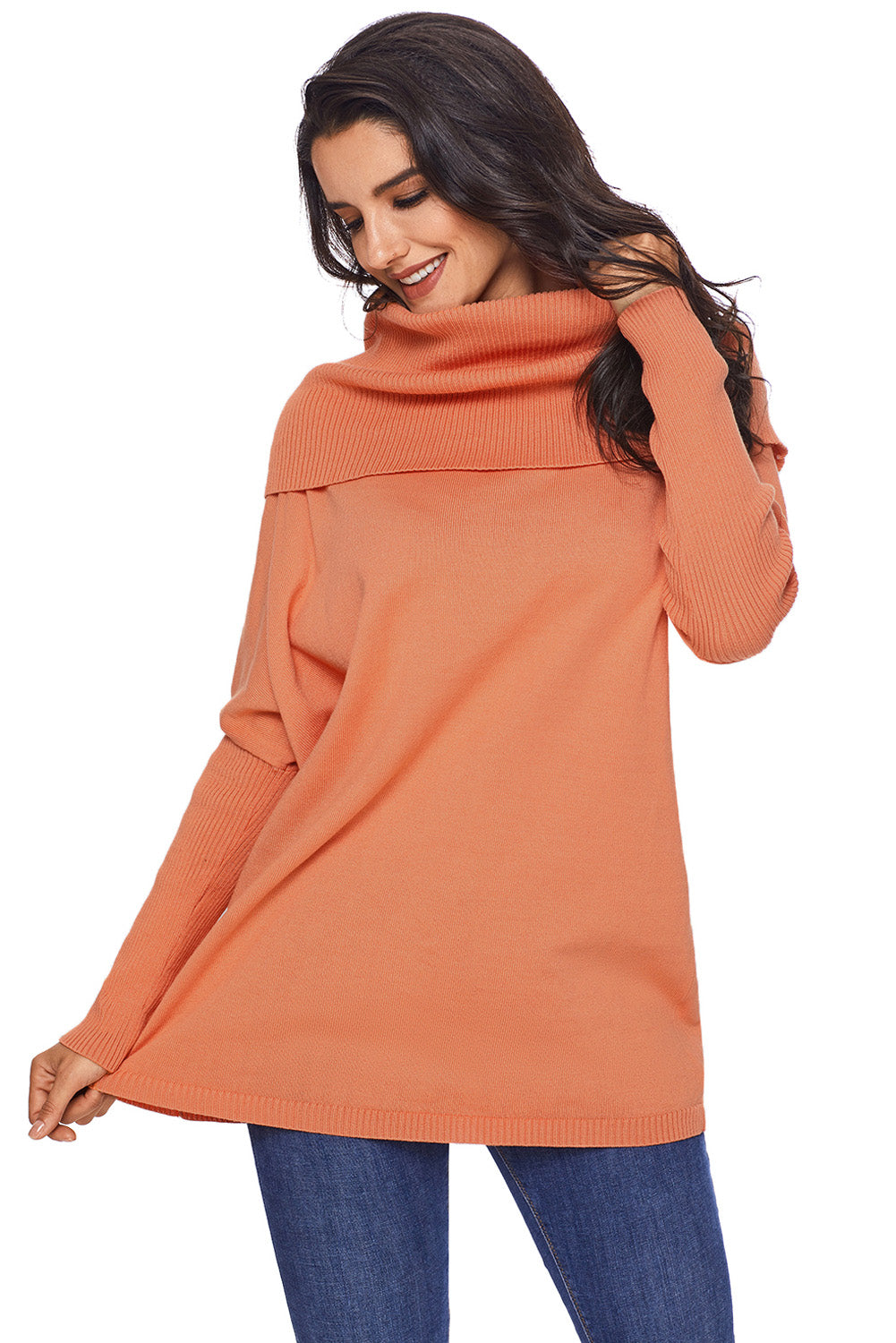 Orange Cozy Cowl Neck Long Sleeve Sweater