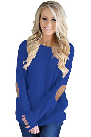 Blue Elbow Patch Sweatshirt