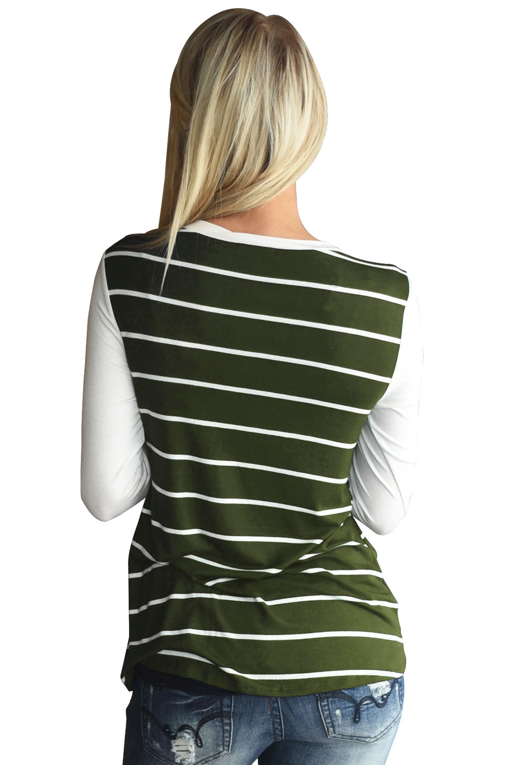 Green White Stripe Sequin Pocket Top