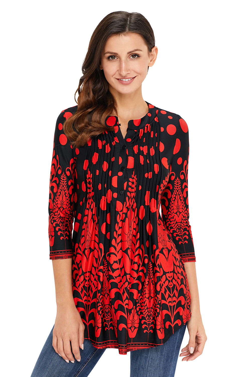 Red Floral Notch Neck Pin-tuck Tunic