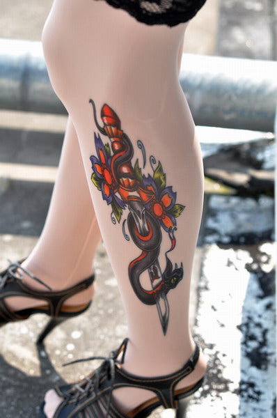 Evil Sword Inspired Tattoo Stockings