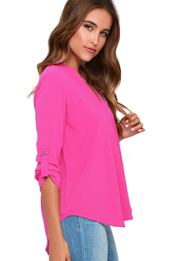 Rosy V Neck Loose Fitting Chiffon Blouse