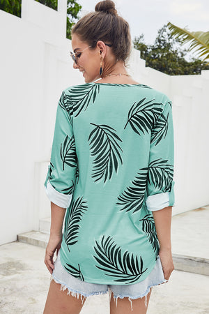 Green Tropical Plant & Cross Print Shirt