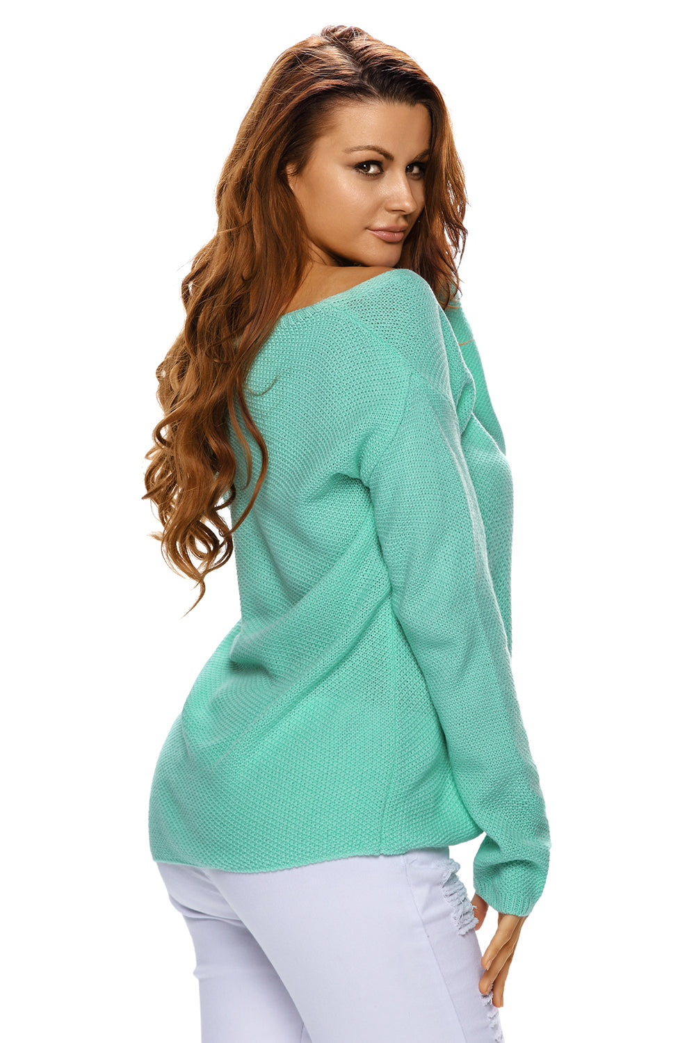 Green Knitted Long Sleeve Plunge Jumper