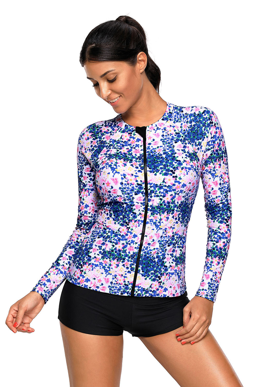 Blue Pink Little Flower Zipped Rashguard Top