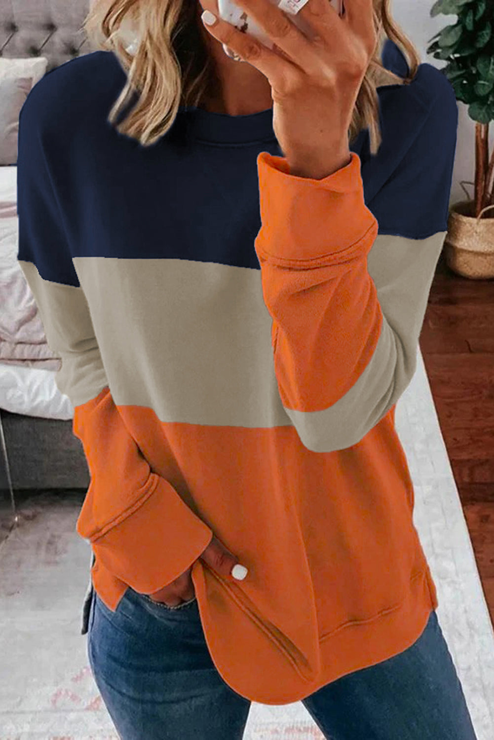 Colorblock Orange Contrast Stitching Sweatshirt with Slits
