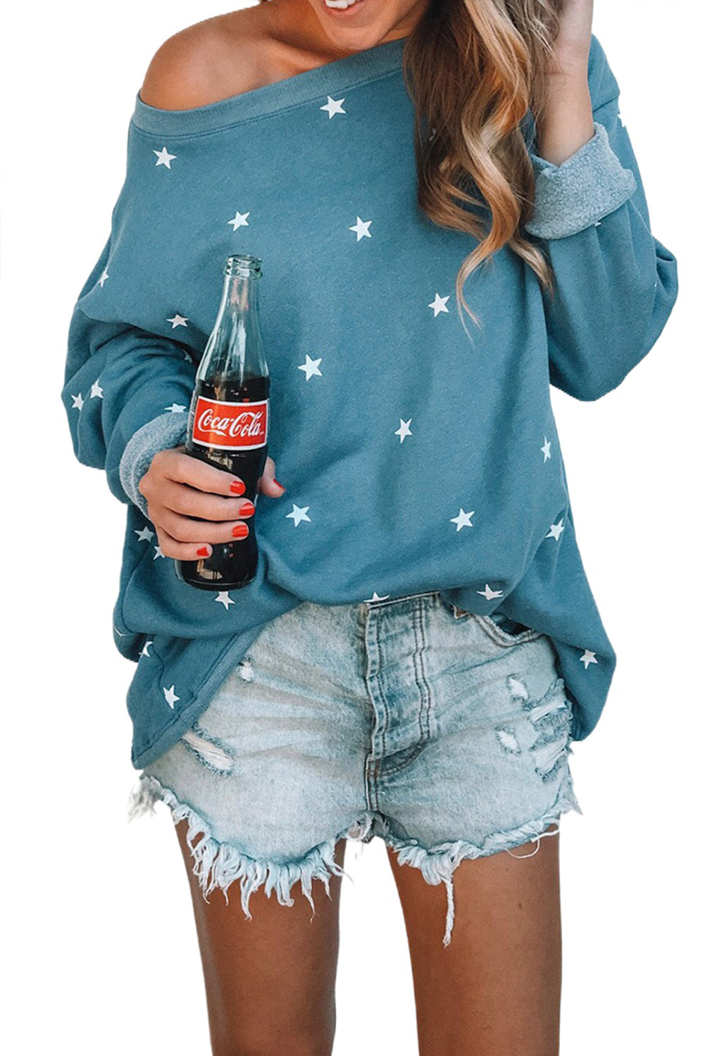 Blue Star Print Relaxed Long Sleeve Top