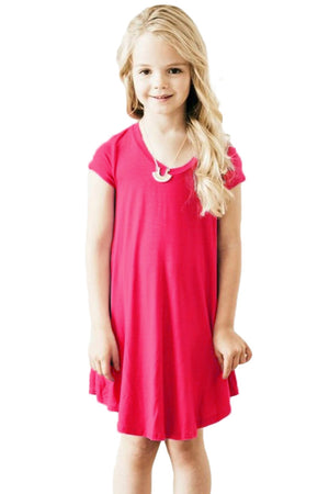 Rosy Cap Sleeve Tunic Dress for Little Girls
