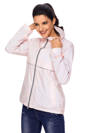 Light Pink Women Zipper Lapel Suit Blazer with Foldable Sleeve