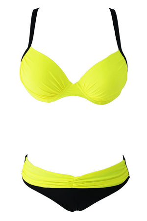 Sexy Yellow Padded Gather Push-up Bikini Set