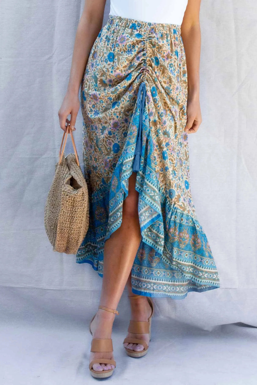 Blue Floral Motif Talking Pretty Maxi Skirt