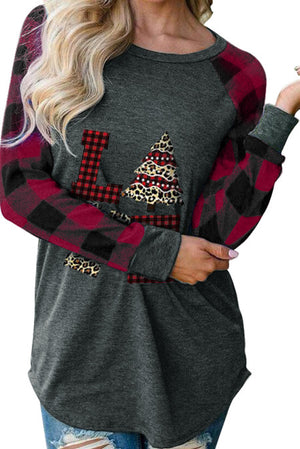 Red Plaid Christmas Print Long Sleeve Top