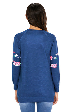 Floral Patch Accent Navy Sweatshirt