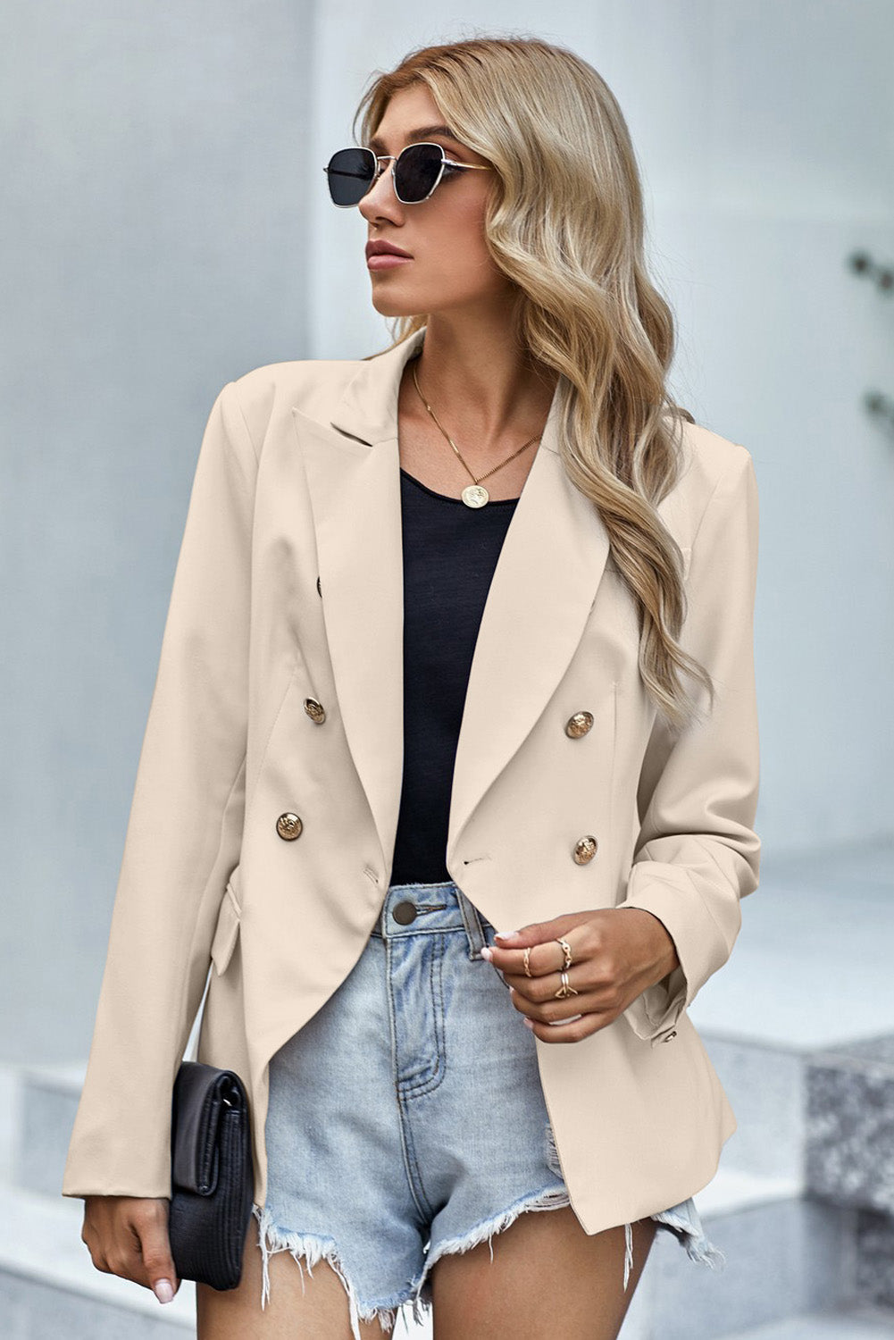Apricot Double Breasted Long Sleeve Novelty Button Blazer