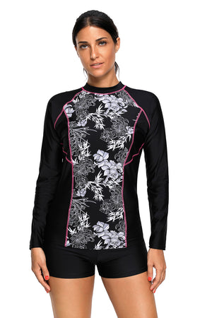 High Neck Long Sleeve Rashguard Surfing Diving Swimwear