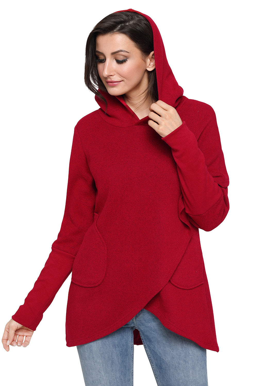 Burgundy Tulip Wrap Cape Style Long Sleeve Hoodie