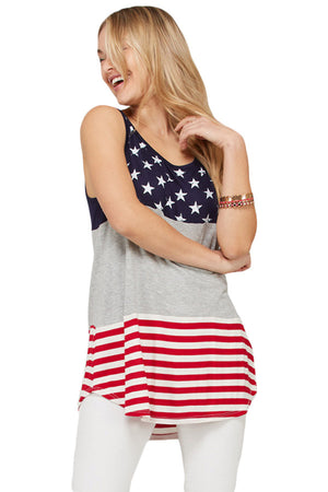 Gray Sleeveless Colorblock American Flag Print Tunic Top