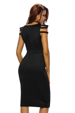 Strappy Cap Sleeves Jewel Accent Black Midi Dress