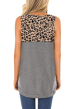 Hollow-out Leopard Solid Gray Patchwork Tank Top