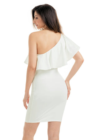 White One Shoulder Party Cocktail Mini Dress