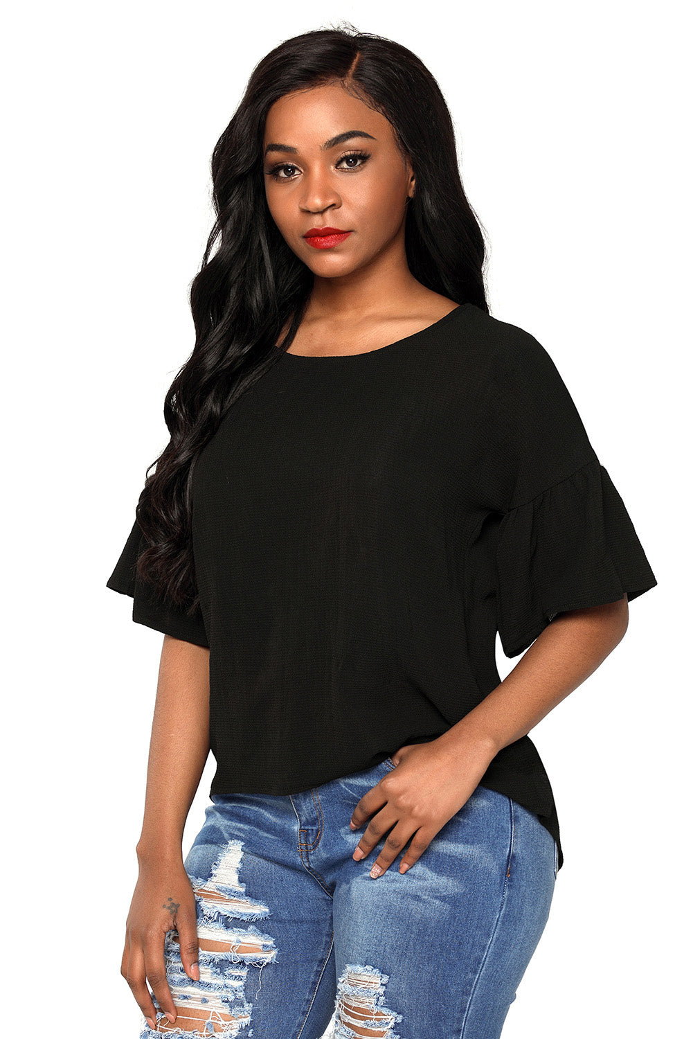 Black Short Bell Sleeves Sheer Chiffon Blouse