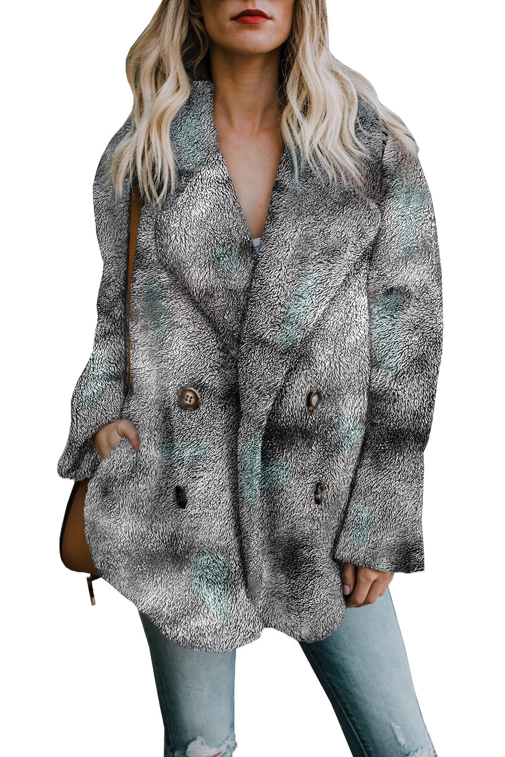Gray Tie Dye Lapel Collar Open Front Fleece Coat