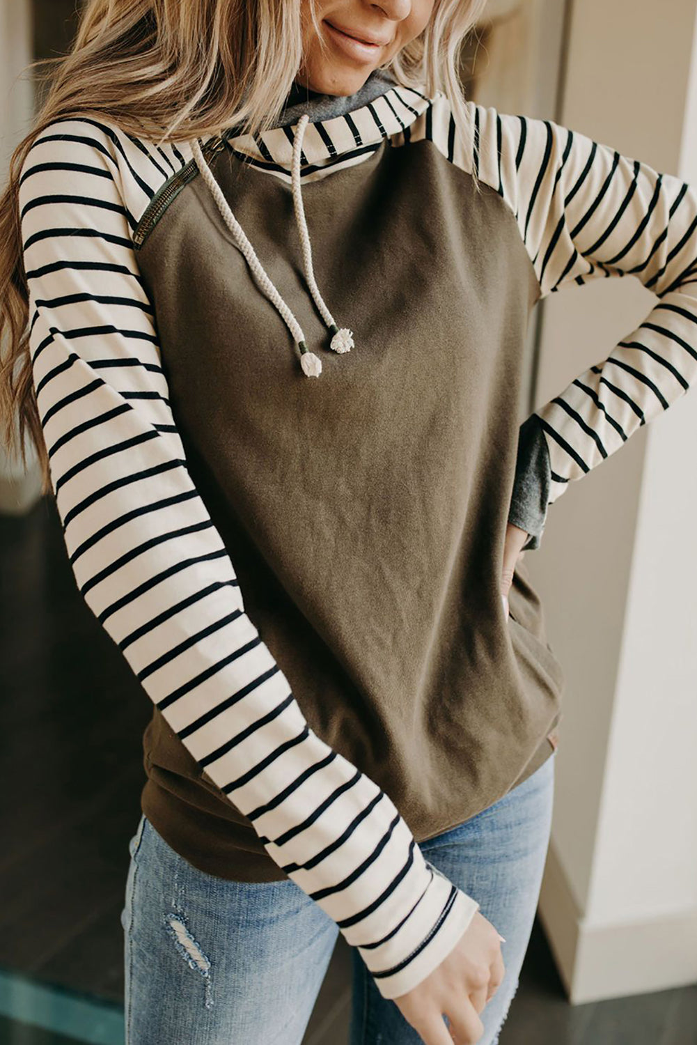 Green Striped Inclined Zipper Drawstring Kangaroo Pocket Hoodie