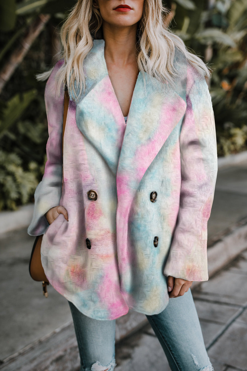 Multi-color Tie Dye Lapel Collar Open Front Fleece Coat