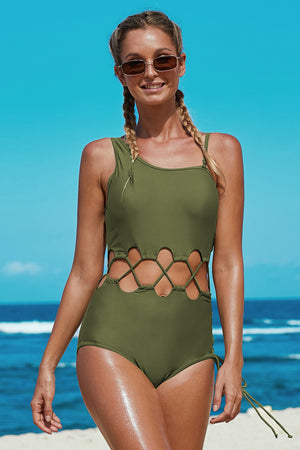 Army Green Lace Up Cutout Asymmetric Shoulder Maillot