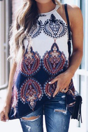 Crew Neck Tranditional Print Long Vest