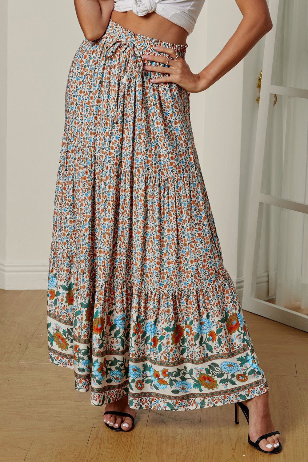 Multicolor Boho Floral Print Elastic High Waist Pleated A Line Maxi Skirt